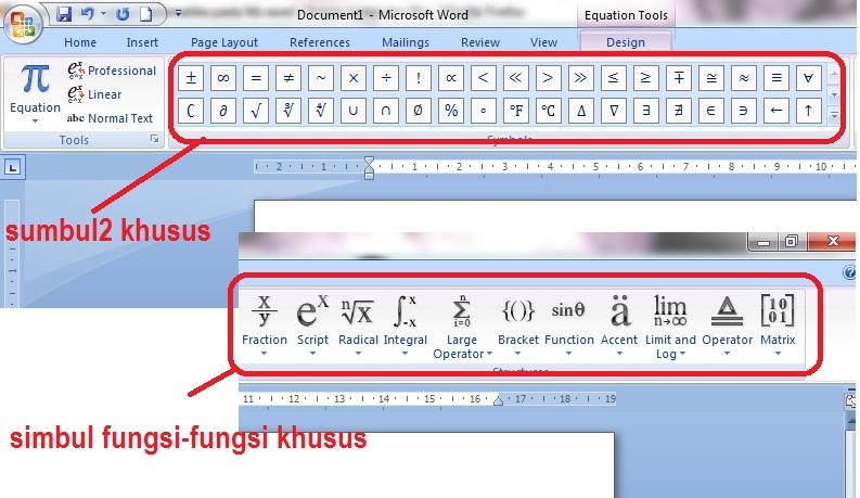 tampilan toolba rumus matematika microsoft word 2007 2010