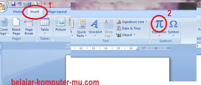 cara menampilkan toolbar rumus matematika microsoft word 2007 2010