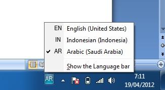 icon menu teks arab di taskbar windows tujuh