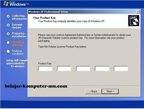 gambar jendela setup meminta produk key windows xp