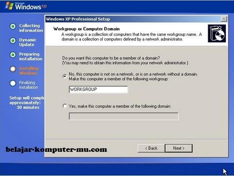 gambar jendela setup menentukan grup jaringan komputer