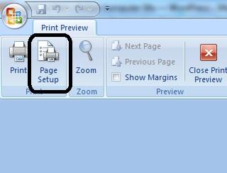 menampilkan jendela page setup excel