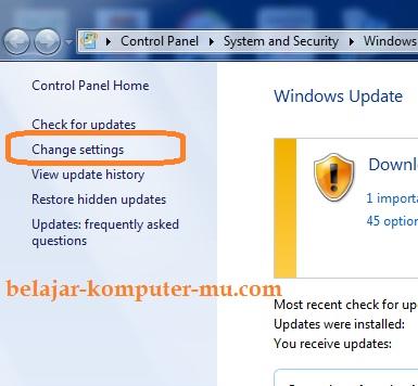 cara mematikan update windows seven 7