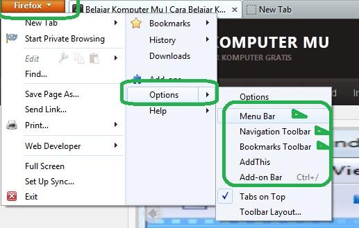 cara menampilkan toolbar dan menu bar mozila firefox yang hilang